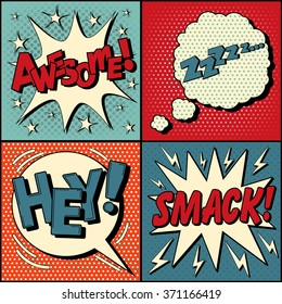 Set of Comic Speech Bubbles in Pop Art Style. Expressions Awesome, Hey, Smack, Zzz. Vector illustration