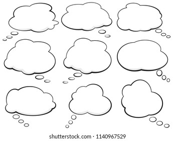 set of comic speech bubbles and thought balloons vector illustration
