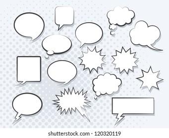 Set of comic speech bubbles. Vector image.