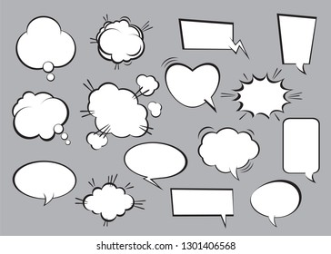 Set of comic speech bubbles. Vector Illustration, graphic element and outline icons.