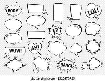 Набор пузырьков комической речи. Векторная иллюстрация и графические элементы.