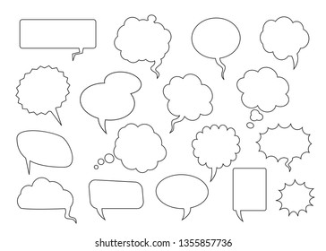 Set of comic speech bubbles. Vector Illustration and graphic elements. Black speech ballons on transparent background. Vector outline,