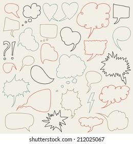 Set of comic speech bubbles. Vector illustration. Pastel background.