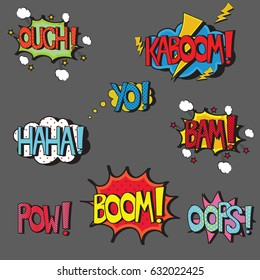 Set of comic style pop art words in speech bubbles. Isolated vector phrases. Sound effect icons of ouch, kaboom, yo, haha, bam, boom, pow, and oops. Hand written leters filled with color haltone.