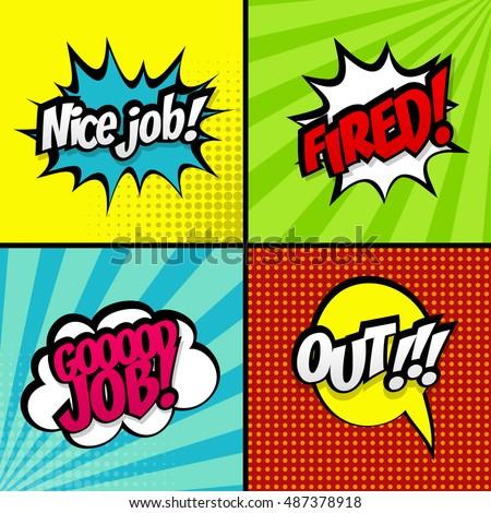 Set Comic Text Good Work Vector Stock Vector Royalty Free