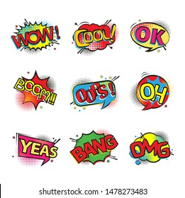 Set of comic text, pop art style or Comic speech bubbles set with different emotions. Vector bright dynamic cartoon illustrations.