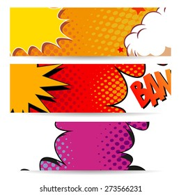 Set of comics boom backgrounds, vector illustration