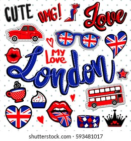 Set of comics patch badge elements. London wallpaper with heart, glasses with great britain flag, bus, old red car, cup of tea, cake, kiss lips, black crown, women bag.