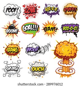 Set of comics speech and explosion bubbles. Colored with text