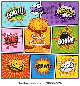 Set of comics speech and explosion bubbles on a comics book background. Colored with text