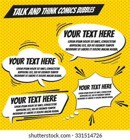 Set of comics style talk and think bubbles