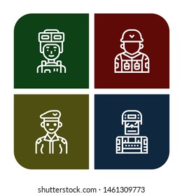 Set of commando icons such as Soldier , commando