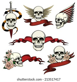 Set of commemorative skull icons with roses  blank ribbon banners  wings and a sword an snake to honor and remember the dead   vector drawings on white