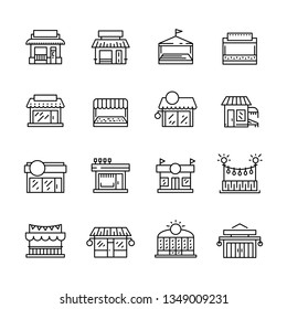 Set commerce store front outline vector icon. Illustration building facade shop minimalistic flat style. Icon. Icons of commercial buildings and premises for shops and public service companies