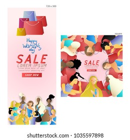 set of commercial banners,group of women chit chat about shopping,cute cartoon character,vector illustration,international women's day,space for text