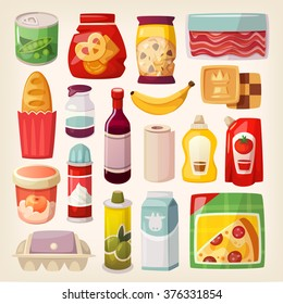 Set of common goods and everyday products we get by shopping in a supermarket.