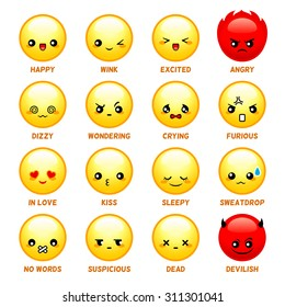 Set of common japanese emoticons isolated