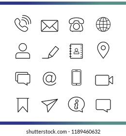 set of communication / contacts thin line icon vector, editable to flat icon. Simple icon illustration for your website, blog, social media, articles, infographics design.