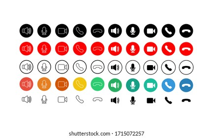 Set of communication icons button. Phone, sound, microphone, camera, call symbols on isolated white background for applications, web, app. EPS 10 vector.