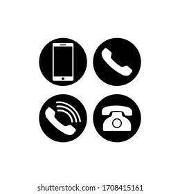 Set of communication icons. Phone, smartphone, mobile phone circle in modern color design concept on isolated white background for applications, web, app. EPS 10 vector.