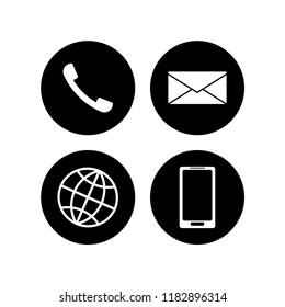 Set of communication icons. Round black circles with white silhouettes of mail (envelope), phone (telephone handset), smartphone and earth (globe)