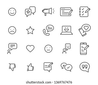set of communication icons, such as chat, feedback, emotion, review