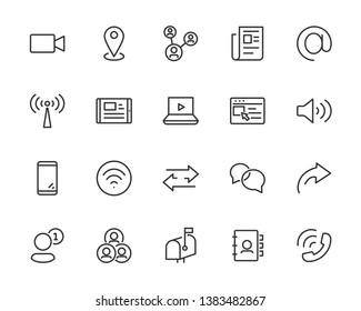 set of communication icons, such as social media, address, application