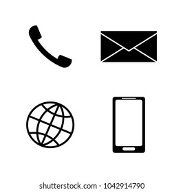 Set of communication icons. Telephone handset, envelope, earth (internet), smartphone