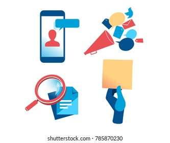 A set of communication and marketing vector clipart