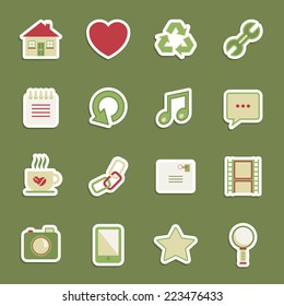 set of communication media stickers with transparent shadows