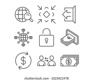 Set of Communication, Minimize and Cash icons. Lock, Sign out and Usd exchange signs. Logistics network, Internet search and Banking symbols. Users talking, Small screen, Atm payment. Vector