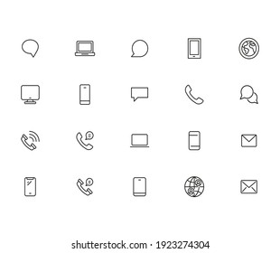 Set of communication related vector line icons. Premium linear symbols pack. Vector illustration isolated on a white background. Web symbols for web sites and mobile app. Trendy design.