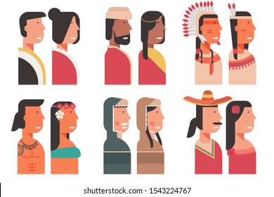 set of community and diversity people avatar from all around the world with traditional costumes symbol. multicultural group of male, female portrait  cartoon character flat vector illustration