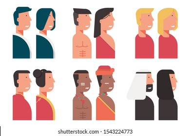 set of community and diversity people avatar from all over the world with traditional costumes sign symbol. multicultural group of male, female portrait  cartoon character flat vector illustration