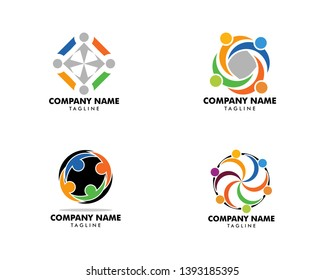 Set of Community people logo vector