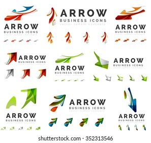 Set of company logotype branding designs, arrow direction concept icons isolated on white