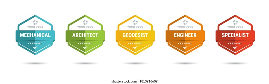 Set of company training badge certificates to determine based on criteria. Vector illustration certified logo design.