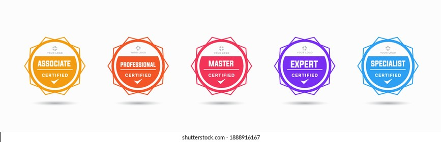 Set of company training badge certificates to determine based on criteria. Vector illustration certified logo geometric design.