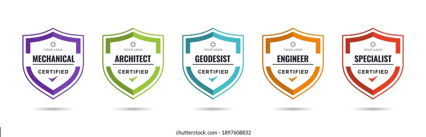 Set of company training badge certificates to determine based on criteria. Vector illustration certified logo design template.