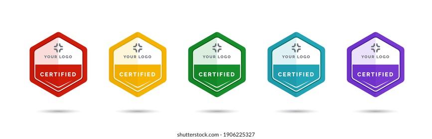 Set of company training badge certificates to determine based on criteria. Vector illustration certified logo design.