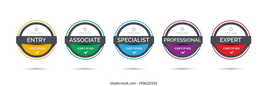 Set of company training badge certificates to determine based on criteria. Vector illustration certified logo with colorful line design.
