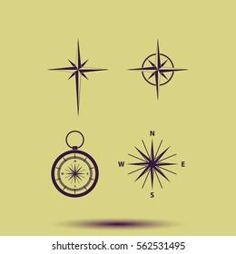 Set of compass icon.