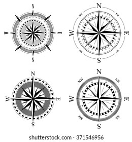 Set of compass navigation dials - highly detailed vector illustrations