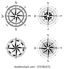 Set of compass navigation dials - highly detailed grunge vector illustrations