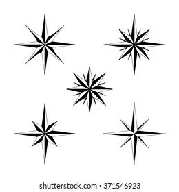 Set of compass navigation neddle stars - highly detailed vector illustrations