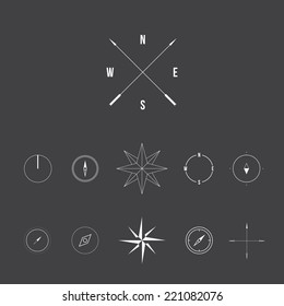 Set of compass signs, modern line design