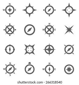 Set of compasses navigation signs and wind rose