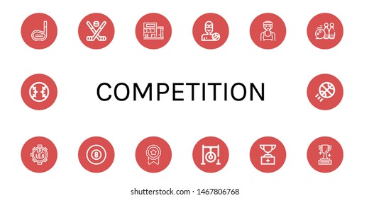 Set of competition icons such as Golf stick, Hockey stick, Swimming pool, Waterpolo, Boxer, Bowling pins, Stopwatch, Billiard, Medal, Darts target, Trophy, Baseball , competition