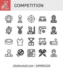 Set of competition icons such as Success, Hockey player, Pawn, Focus, Paper punch, Taekwondo, Watch, Medal, Billiard, Puck, Top, Trophy, Golf cart, Swimming pool , competition