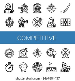 Set of competitive icons such as Fencer, Stopwatch, Target, Accountant, Hockey stick, Hockey pitch, Soccer player, Dart, Birdie, Table tennis , competitive